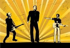 Rock Band Sunburst. Illustration of a rock guitar band against a sunburst light show Royalty Free Stock Image