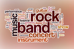 Rock band word cloud with abstract background Royalty Free Stock Images