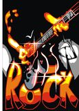 Rock banner with man and guitar Royalty Free Stock Photography