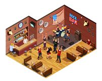 Rock Bar Isometric Composition. Rock stars in bar isometric composition with musicians on stage, admirers, interior elements vector illustration Stock Image