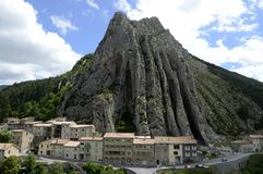Rock of the Baume in Sisteron in Provence, France stock images