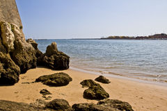 Rock Beach. A beach full of rocks in portugal Stock Images