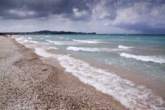 Rock beach with big wave Stock Photo