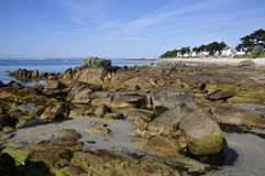 Rock and beach of Carnac in France Stock Image
