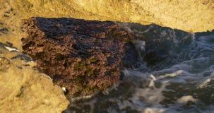 Rock beach close up mediterranean sea 4k spain stock video footage