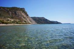 Rock and beach on coast at Zakynthos island Royalty Free Stock Photos