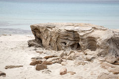 Rock on Beach, Formentera, Balearic Islands Stock Image