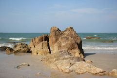 Rock on the beach. Hua-hin beach in Thailand Stock Photo