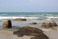 Rock on the beach. Hua-hin beach in Thailand Royalty Free Stock Photo