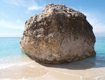 Rock on Beach on Lefkas Island Greece Stock Photos