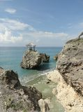 Rock and beach. Little  beach with rock and rustic at cuban south coast Stock Image