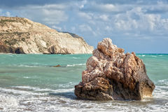 Rock at beach Petra tou Romiou Royalty Free Stock Images
