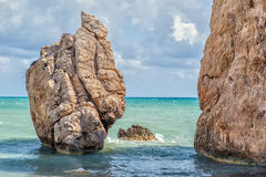 Rock at beach Petra tou Romiou Royalty Free Stock Image