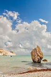Rock at beach Petra tou Romiou Royalty Free Stock Photo