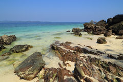 Rock beach with sea at Koh Khai Nok Stock Images