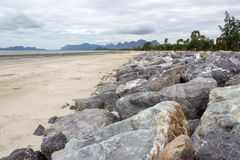 Rock beach sea and sky. Picture Stock Photos