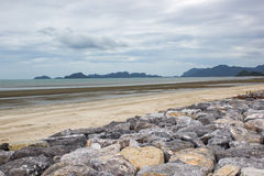 Rock beach sea and sky. Picture Royalty Free Stock Images