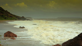 Rock beach side view goa Royalty Free Stock Images