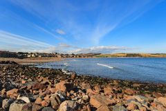 Rock and beach at Stonehaven bay on sSunny day Stock Photography