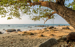 Rock beach with wooden swing in Thailand Stock Photo