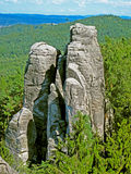 Rock in beautiful forest landscape. Climbing rock in Bohemian paradise, Czech republic, Central Europe, EU Stock Photos