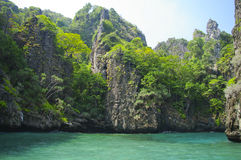 The rock on beautiful sea at South of Thailand Stock Image