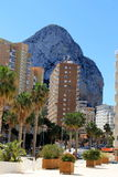 Rock behind the hotel in Calp Stock Photography