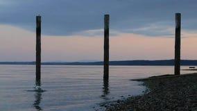 Splash on pink shore. A rock being thrown into ocean causing a large splash at sunset stock footage