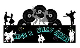Rock a billy sounds background. Background for retro music of rock a billy Stock Image