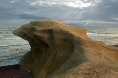 The rock bird. Rock sculted by sea and erosion Stock Photos
