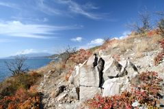 Rock on the Black sea coast in autumn Royalty Free Stock Photo