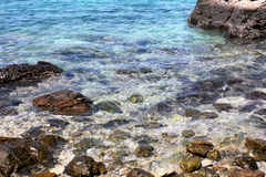 Rock and blue sea. Beautiful blue sea and rock in Thailand. clear water Royalty Free Stock Photos