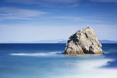 Rock in a blue sea. Sansone beach. Elba island. Tuscany, Italy, Royalty Free Stock Image