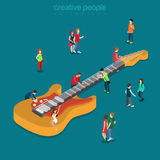 Rock blues bass guitar music fan flat isometric vector 3d Royalty Free Stock Photos