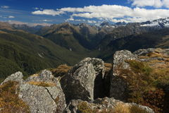 Rock boulders above Hollyford Valley in Fiordland National Park Stock Photos
