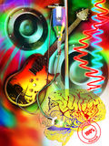 Rock brain. An electric guitar the cable of which is connected to a brain, as a reserve of serum. The waves of cardiac pulsation altered and a loudspeaker Stock Images