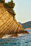 Rock. The rock breaks in the sea  in Petrovac town, Montenegro Stock Image