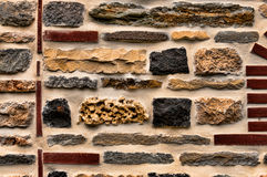 Rock and brick wall. A stagger of rocks and bricks cemented as a unique design for a wall royalty free stock images