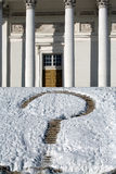 Rock bricks with snow. Guess mark on church steps in winter Stock Images