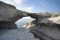 Rock bridge. Puente del Diablo, Santander, Spain Royalty Free Stock Image