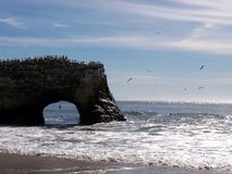 Rock Bridge on Natural Bridges State Beach Royalty Free Stock Photo