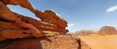 Rock bridge and panoramic view of Wadi Rum. Desert, Jordan Royalty Free Stock Image