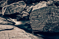 Rock in brook. Big rock in the pure brook Royalty Free Stock Images