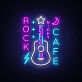 Rock Cafe Logo Neon Vector. Rock Cafe Neon Sign, Concept with guitar, Bright Night Advertising, Light Banner, Live Music. Karaoke, Night Club, Neon Signboard vector illustration
