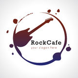 Rock cafe logo. Rock cafe branding logo. Electric grunge guitar in roll music vector sign with dirty paint drops and brush strokes imitations. Art events and Royalty Free Stock Images