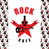 Rock Cafe. Logo template for music rock bar.  Royalty Free Stock Image