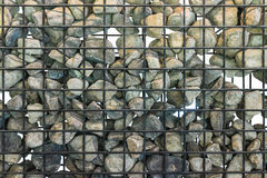 Rock in cage. Gabion in close up, Black cage filled with rocks Royalty Free Stock Image