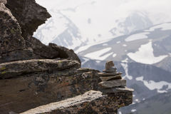 Rock Cairn At Altitude Royalty Free Stock Photos
