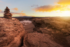 Rock cairn at Moon Valley at sunset Royalty Free Stock Images