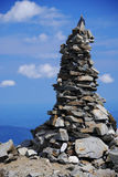Rock Cairn. At Summit of Mountain Stock Image